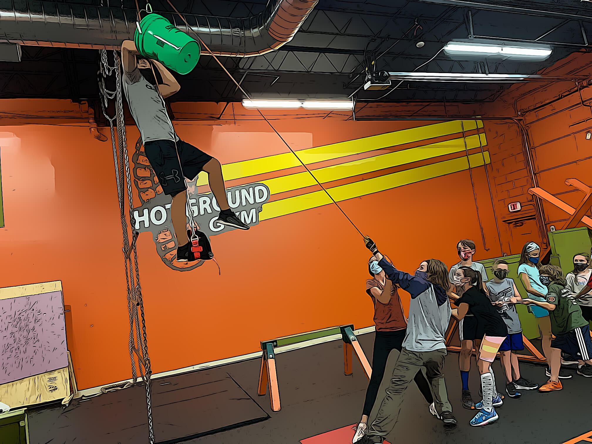 children lift a friend on a rope