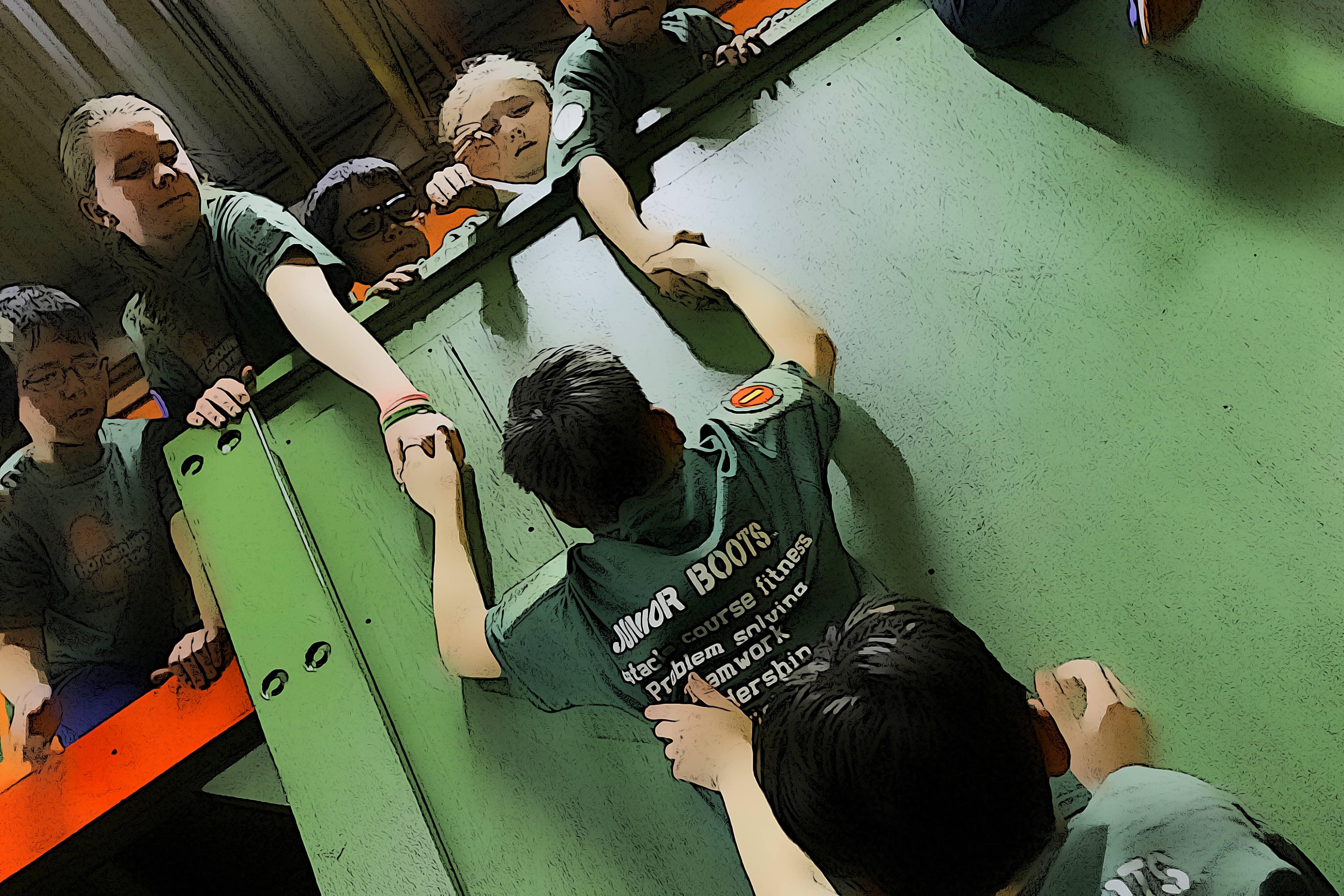 Junior boots - children help each other in training