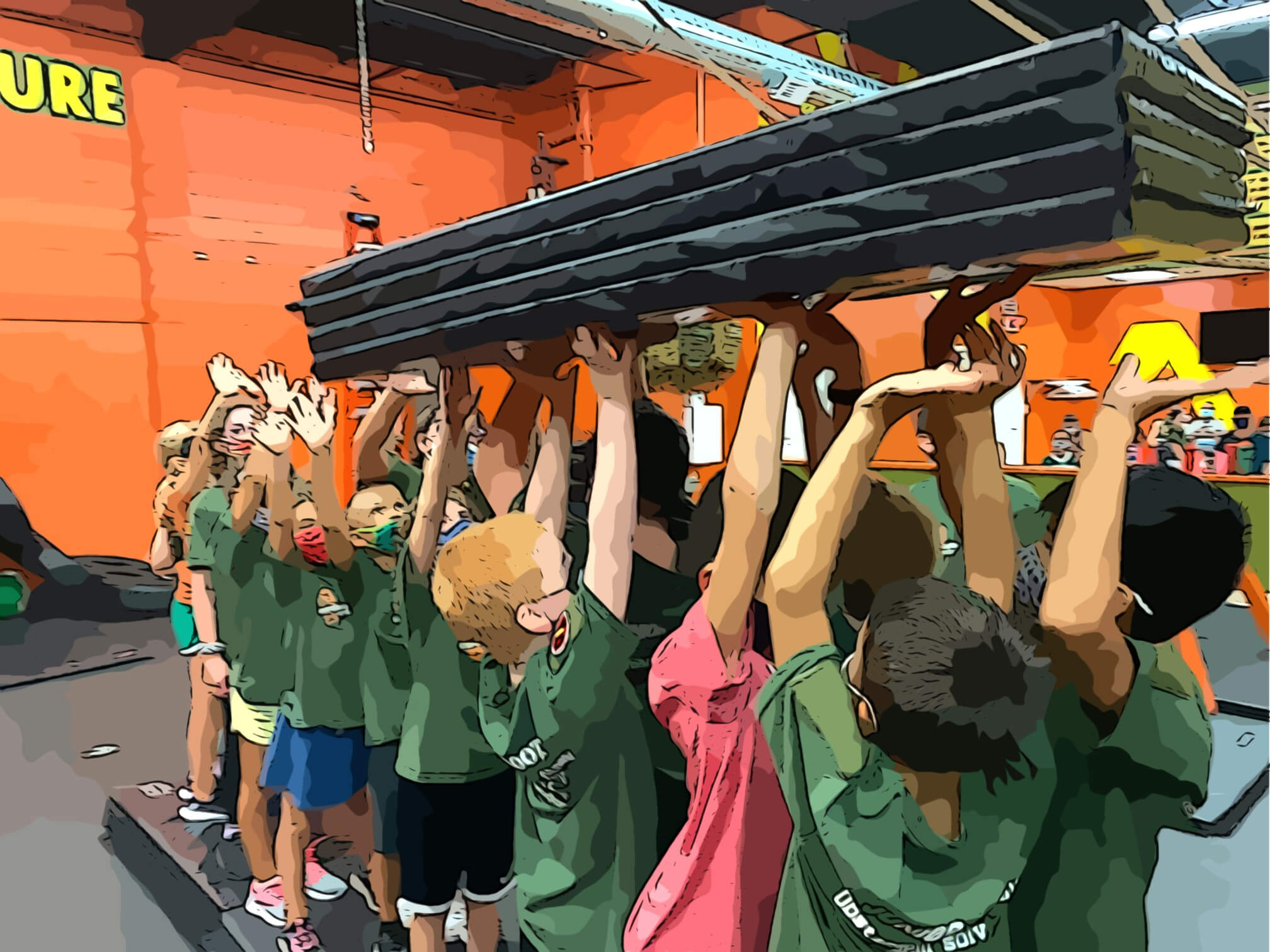 children pass a long object over their hands in hot ground gym