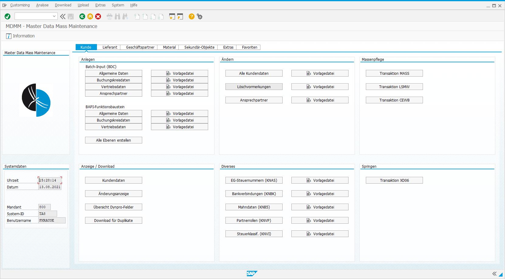 Frontend of Libelle Master Data Mass Maintenance