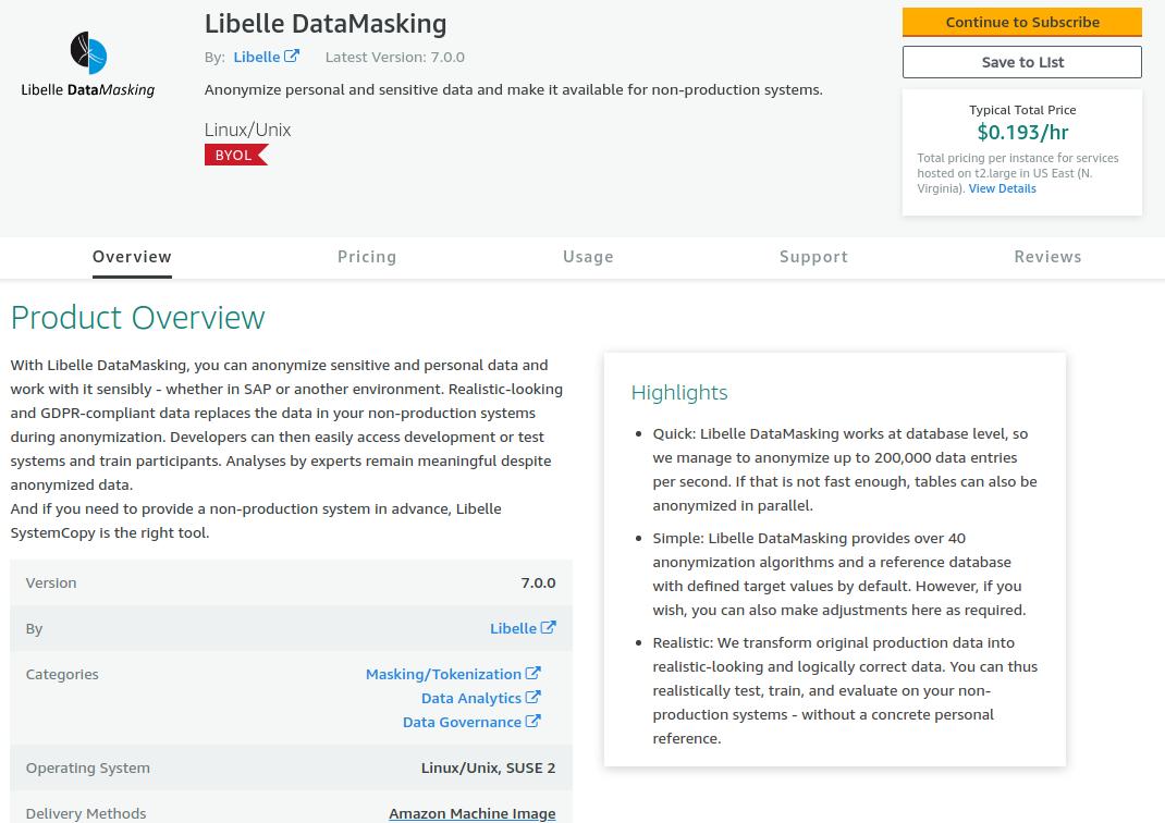 Libelle DataMasking in the Amazon AWS marketplace