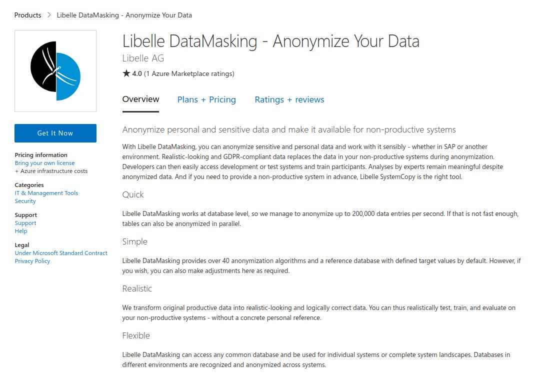 Libelle DataMasking in the Microsoft Azure marketplace