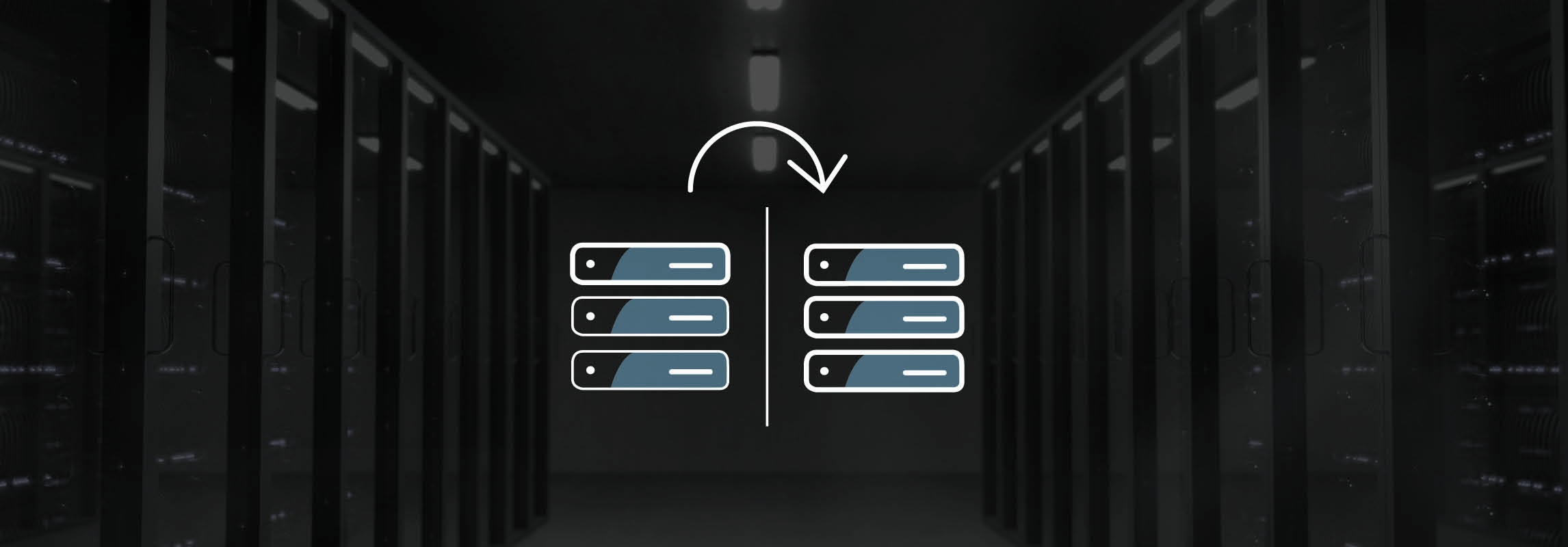Server room with icon in the background showing the process of a system copy