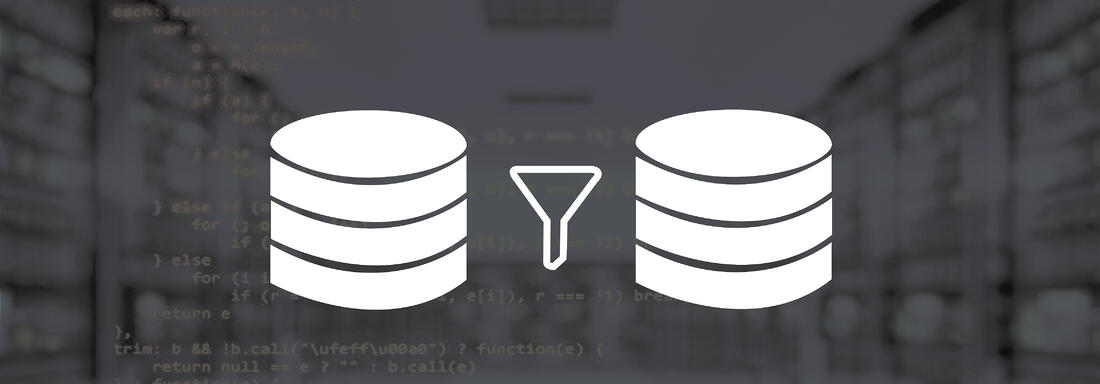 Programming script with icon of two servers and a time funnel in the foreground
