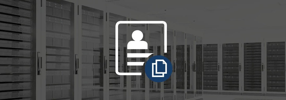 Server room with icon of a client copy in the foreground