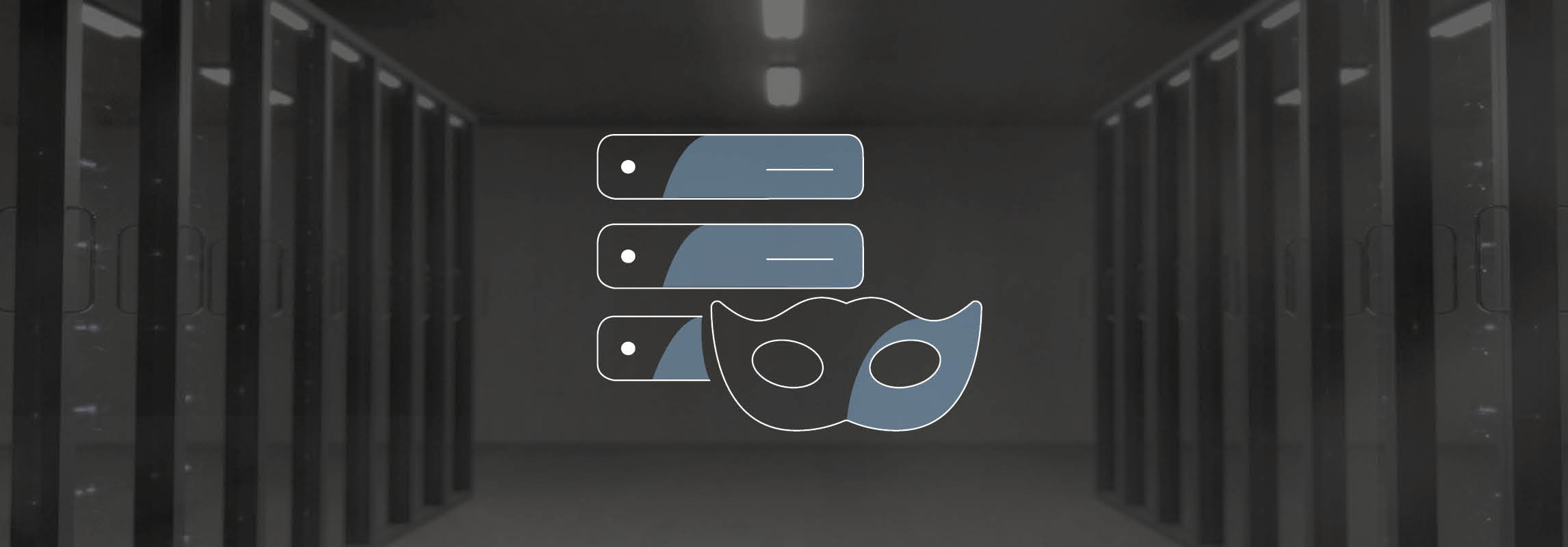 Anonymization-Icon in front of a server