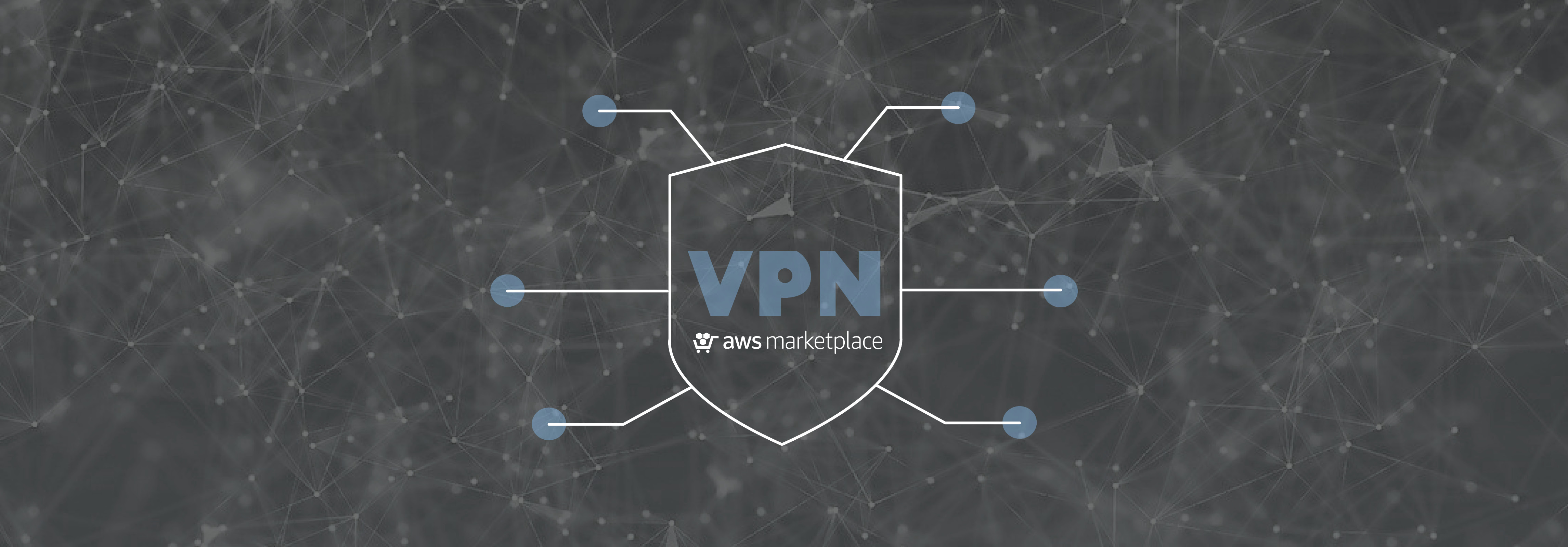 VPN icon with aws Marketplace logo on network background