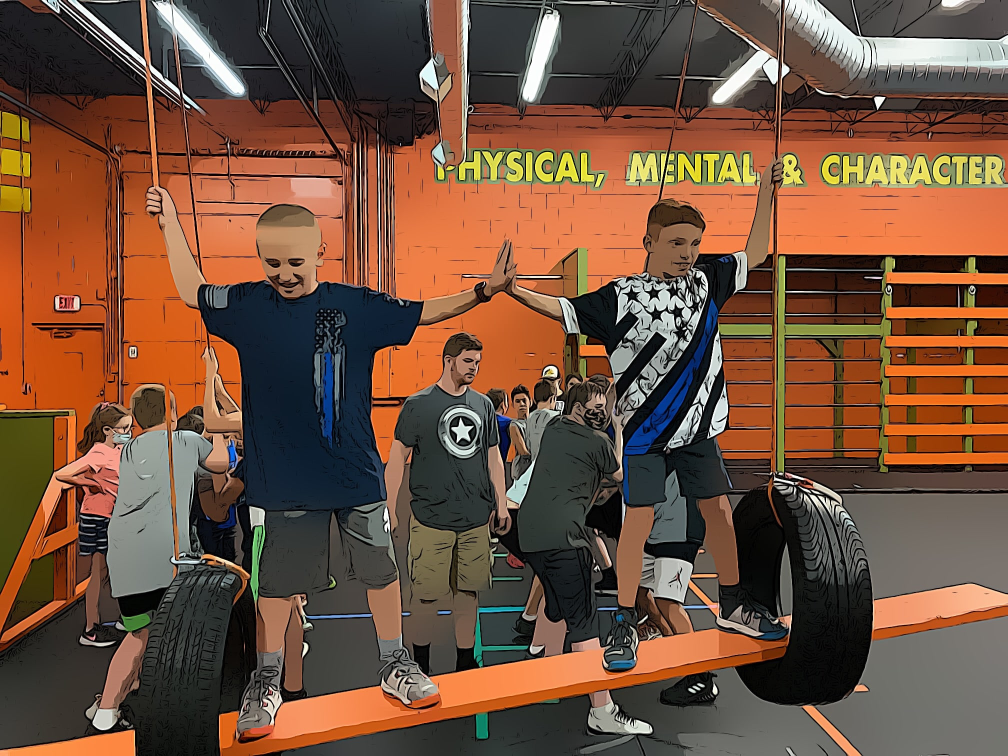 children help each other to stay on the suspended board between the tires