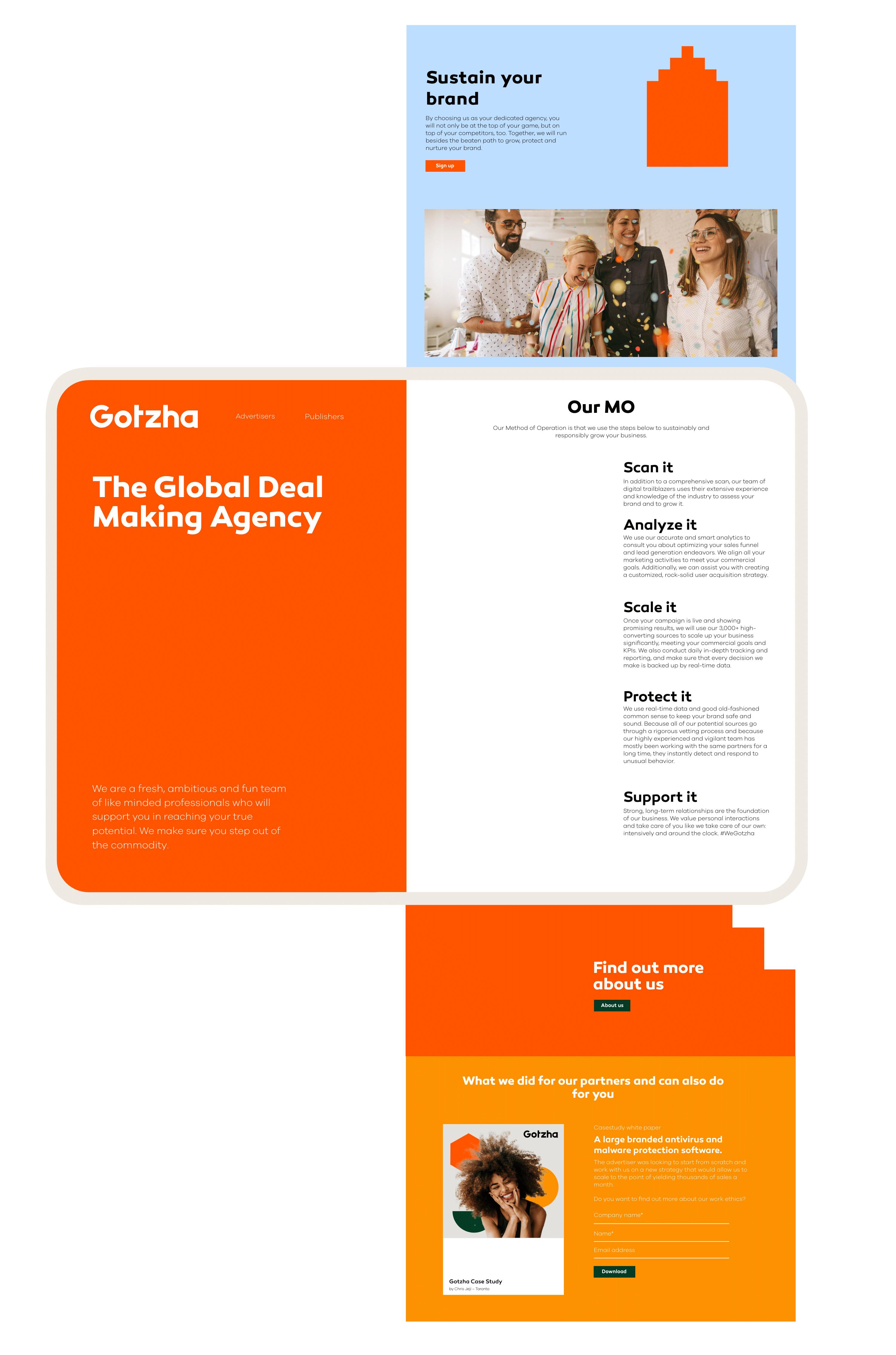 Gotzha Website Design, user interface.