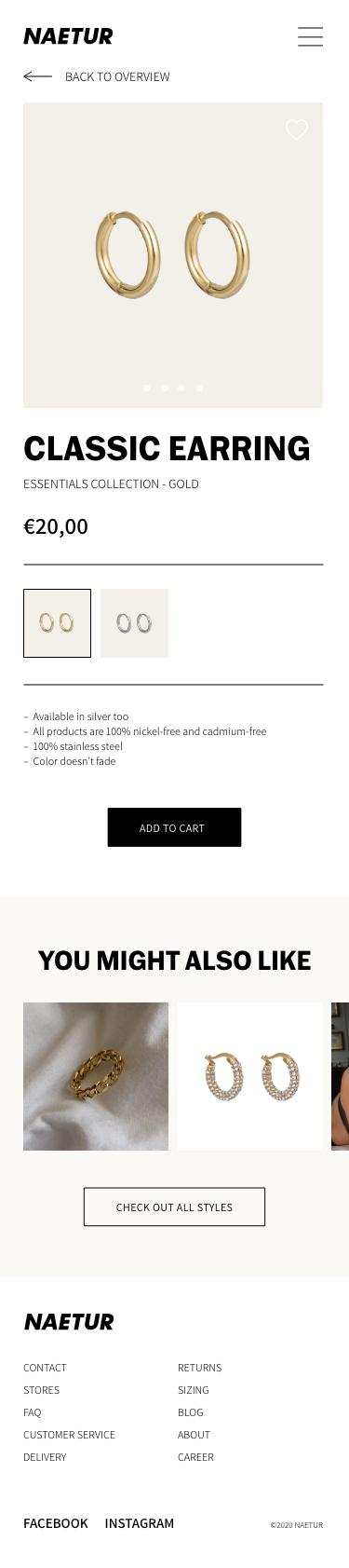 Naetur Mobile Website Design