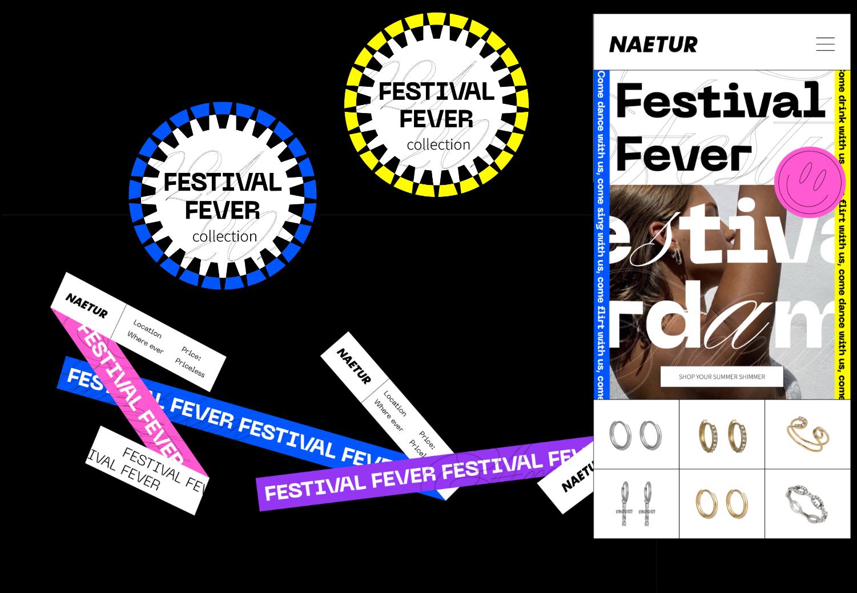 Naetur Festival Fever brand concept development and art direction