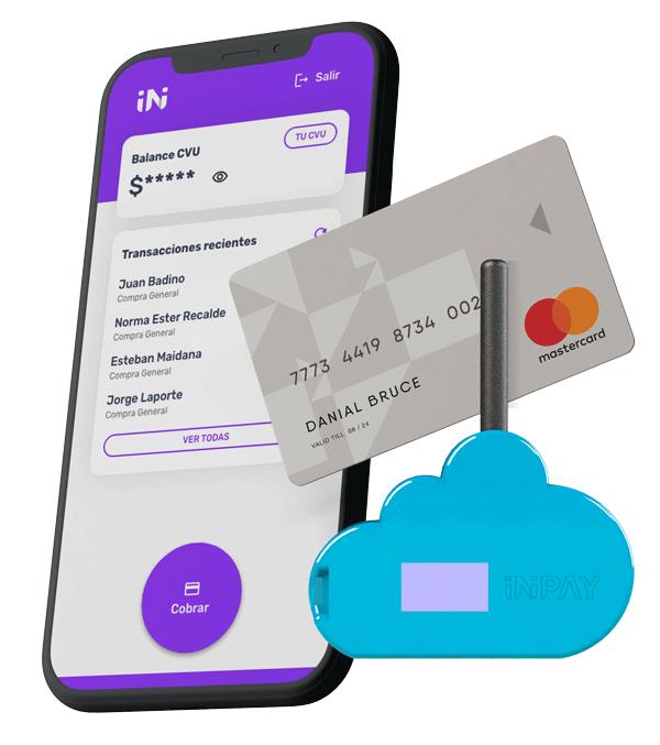 Celular con la app de Inipay cargada, una tarjeta mastercard y el dongle de Inipay