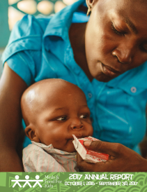2018 annual report cover image of mother feeding child Medika Mamba