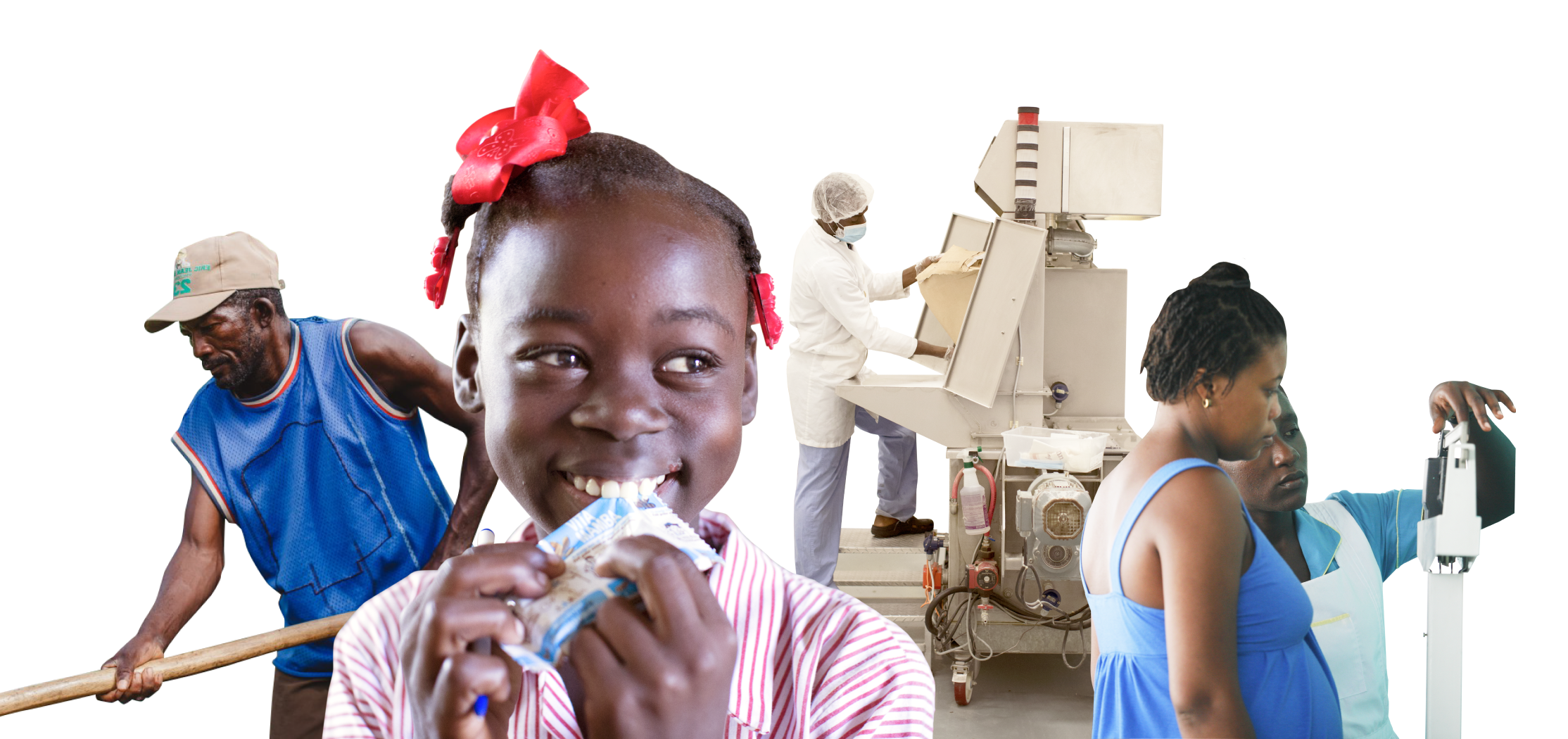 Photo collection encompassing Meds & Food for Kids focus areas. A man in field for agriculture. A school aged girl eating our product for nutrition. An MFK employee in factory for job focus. Pregnant woman on scale with nurse assisting for prenatal care.
