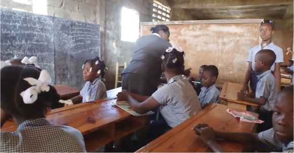 Classroom of school children and teacher