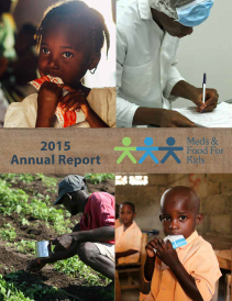 2015 annual report cover with young girl, factory worker, farmer in field, and schoolchild