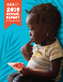 Cover photo for 2019 annual report with child