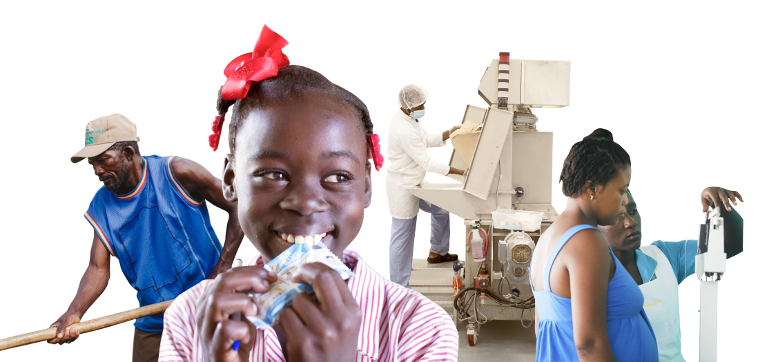 Logo image with child, farmer, nurse and factory worker