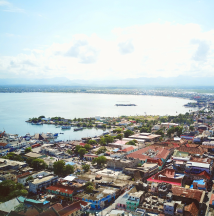 Aerial view of downtown Cap-Haitien and water