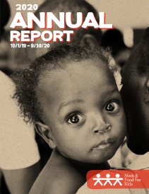2020 annual report cover; close up image of Haitian child from one of Meds & Food for Kids clinics