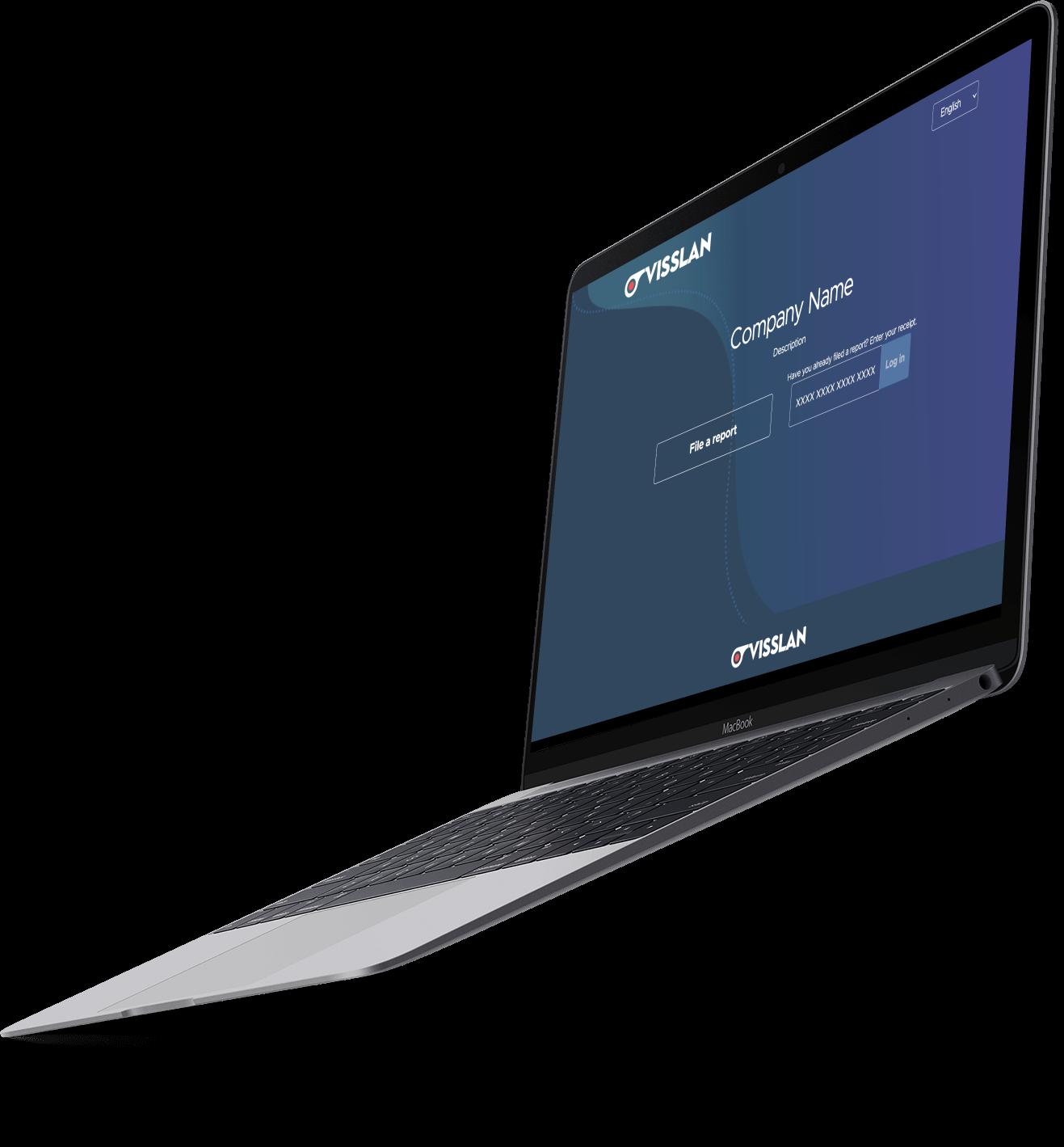 Mockup image of laptop with Visslans whistleblowing system