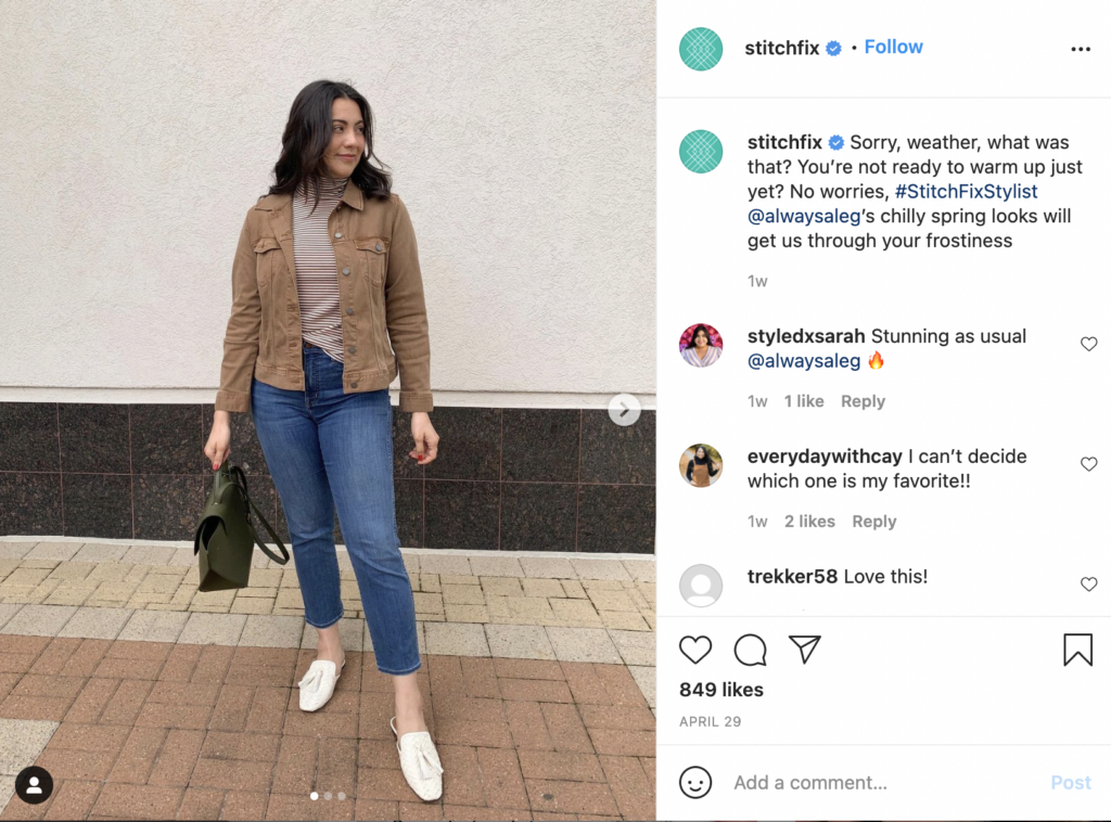 Stitch Fix's micro-influencer strategy in action.