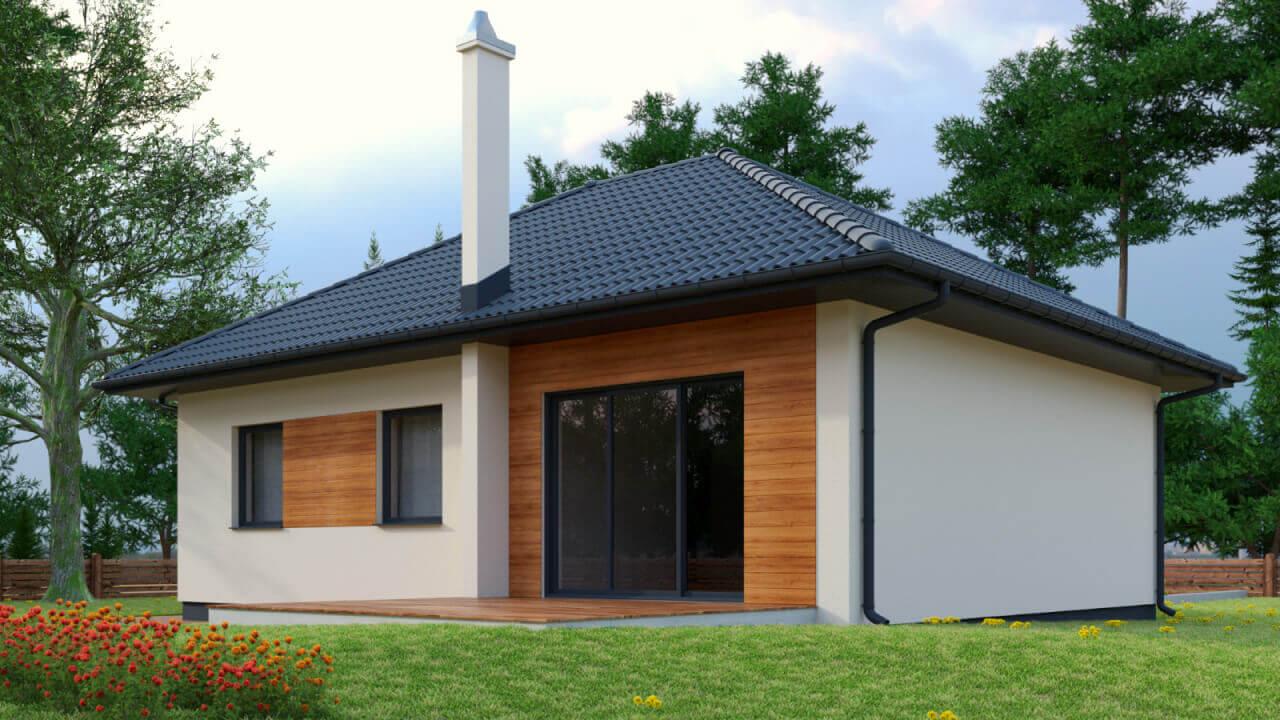 Dom parterowy MP4 o powierzchni użytkowej ~ 82 m2 (salon z kuchnią + 3 sypialnie)