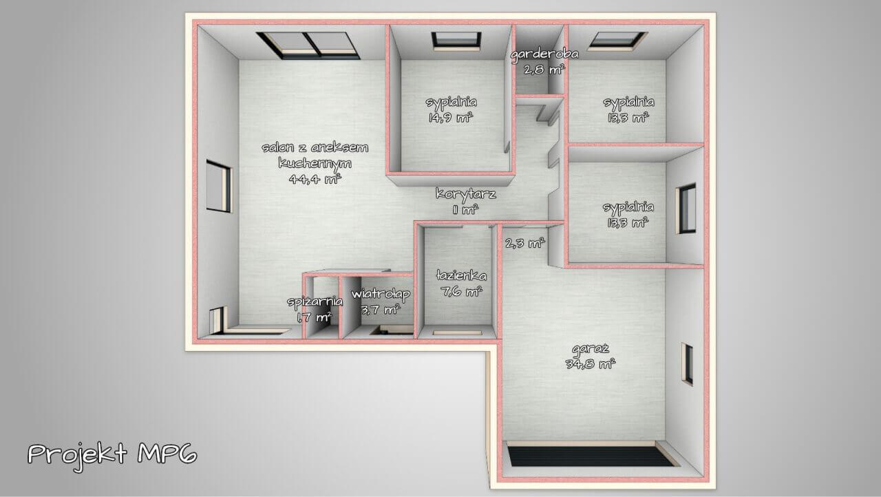 salon z kuchnią + 3 lub 4 sypialnie, 2 łazienki, garderoba, garaż dwustanowiskowy)
