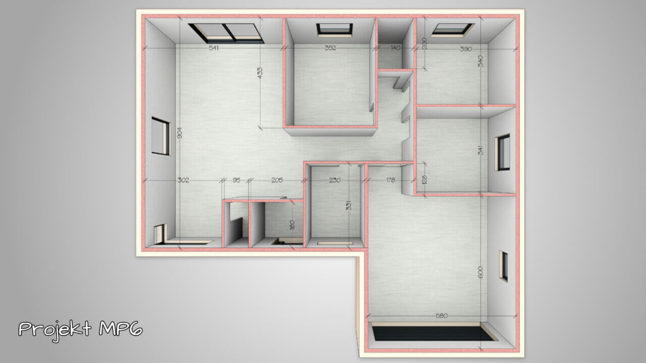 Dom parterowy MP6 o powierzchni użytkowej ~ 120 m2 (3 lub 4 sypialnie, salon z kuchnią, 2 łazienki, garderoba, garaż).