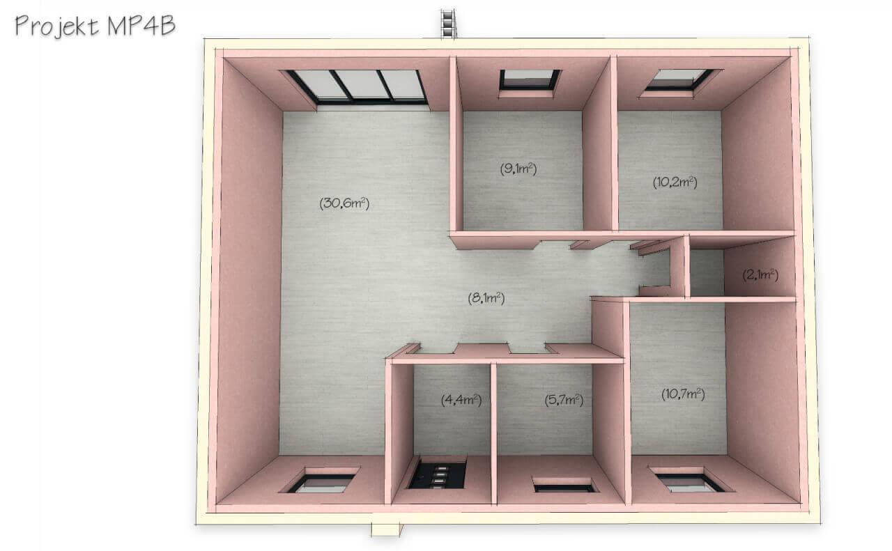 Tani dom parterowy MP4 z 3 sypialniami 82m2