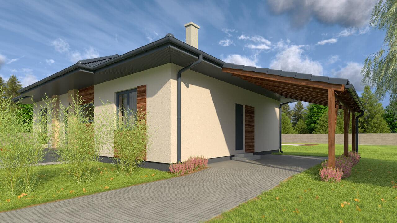 Dom parterowy MP1 z 3-4 sypialniami i garażem (110m2)