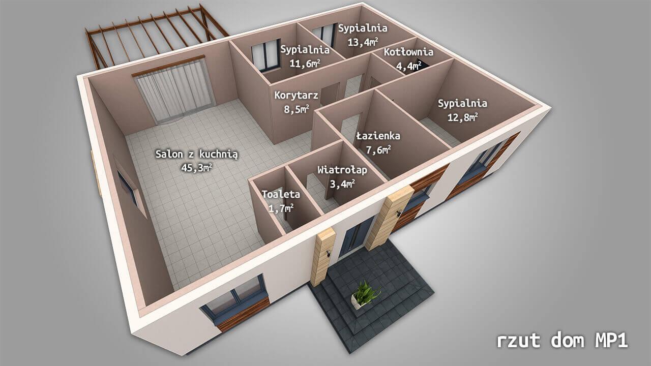 Dom parterowy MP1 o powierzchni użytkowej ~110 m2 (salon z kuchnią + 3 lub 4 sypialnie, łazienka, spiżarnia).