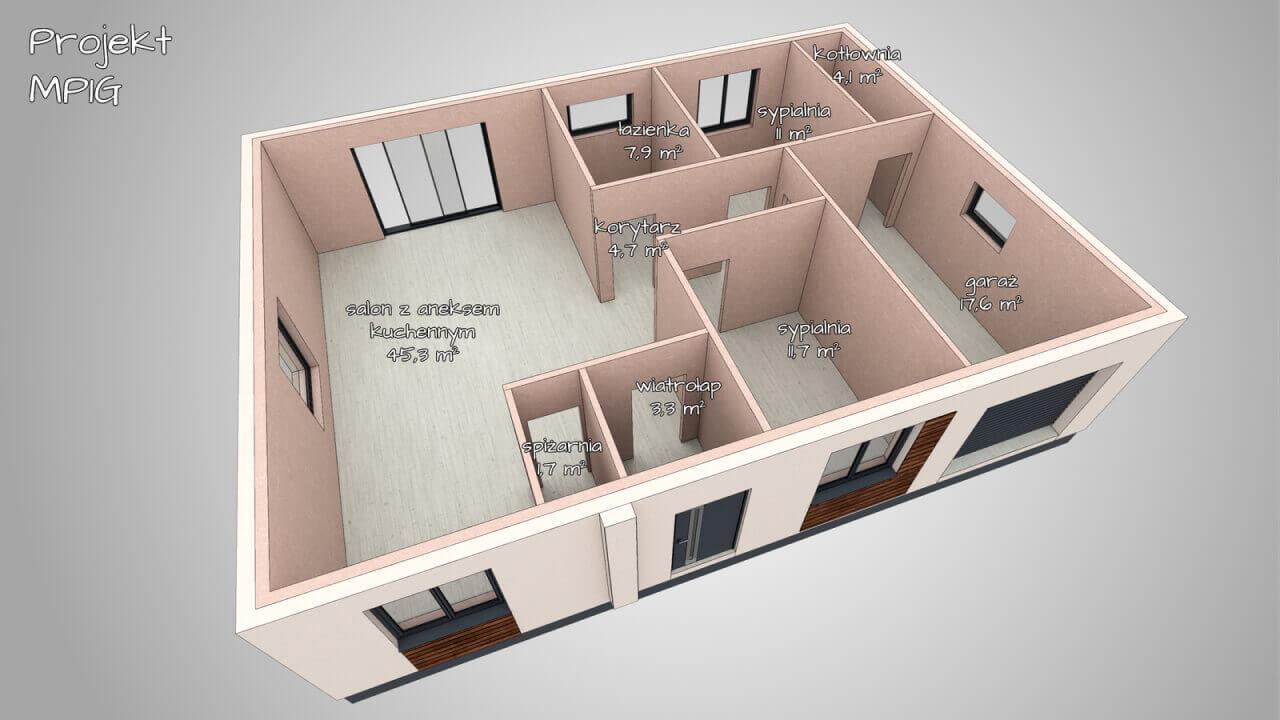 Dom parterowy MP4 o powierzchni użytkowej ~ 92,4 m2 + 17,6 m2 (salon z kuchnią + 2 lub 3 sypialnie, garaż)