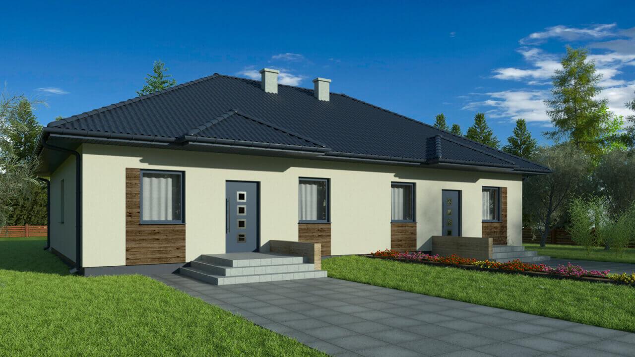 Dom parterowy z keramzytu - 3 sypialnie, łazienka, salon z kuchnią (82m2)