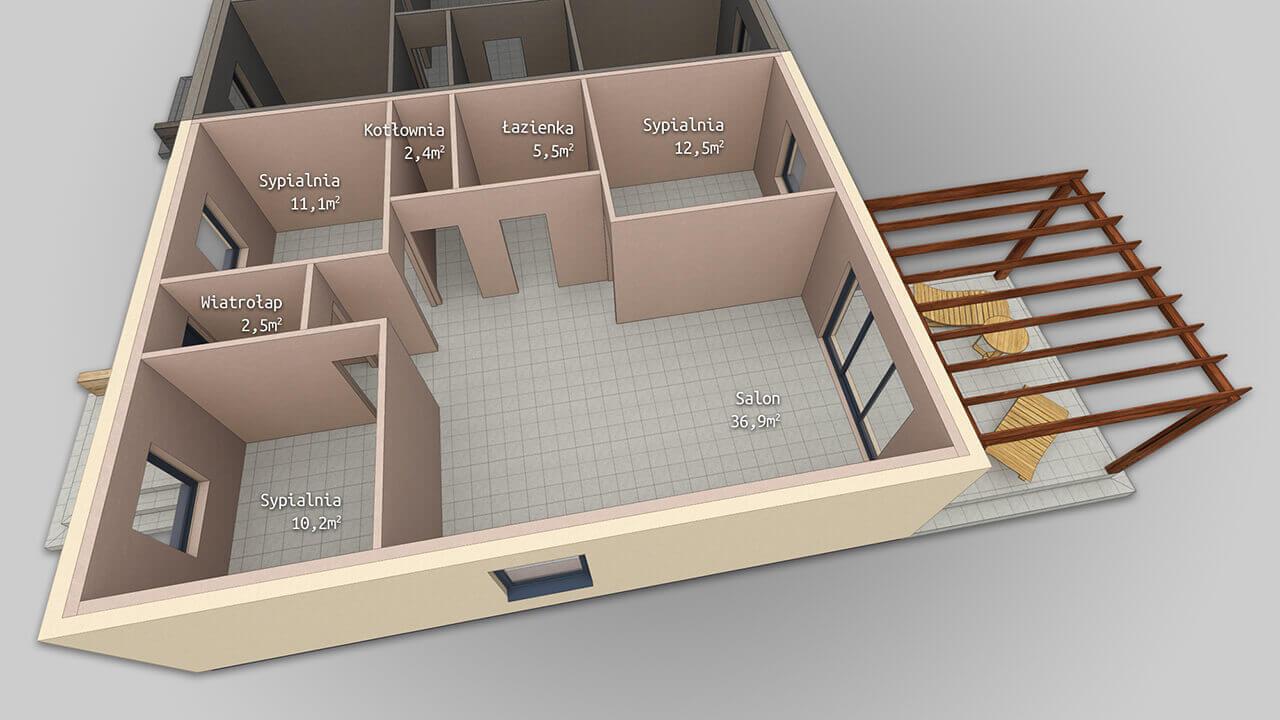 Dom parterowy MP2 o powierzchni użytkowej 2x ~82 m2 (3 sypialnie, salon z kuchnią, łazienka, garderoba).