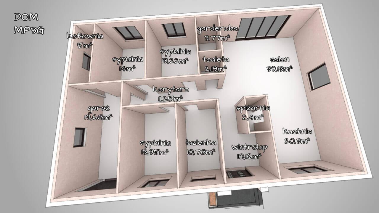 Dom parterowy z keramzytu MP3G - 3 lub 4 sypialnie (165m2)