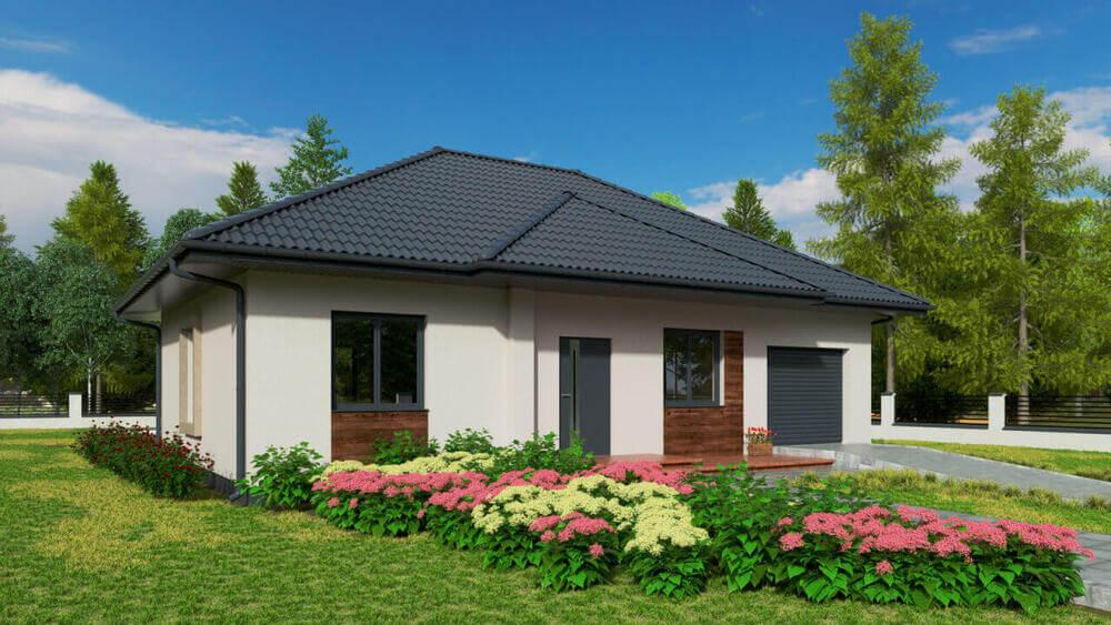 Nowoczesny dom parterowy z keramzytu MP1G z garażem w bryle budynku. Jeden z przykładowych 900 projektów energooszczędnych domów.