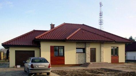 dom z garażem jednostanowiskowym, z bramą elektryczną