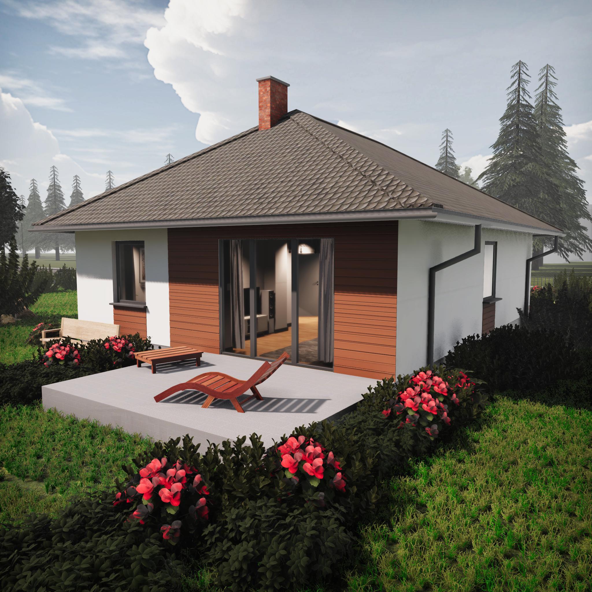 dom z garażem jednostanowiskowym ocieplanym z dachem trójspadowym