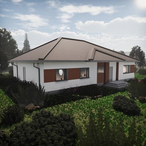 dom parterowy z wiatą garażową 6,5 x 4m