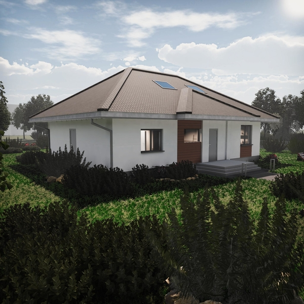 dom z keramzytu z garażem dwustanowiskowym ocieplanym z dachem trójspadowym, z podbitką i orynnowaniem
