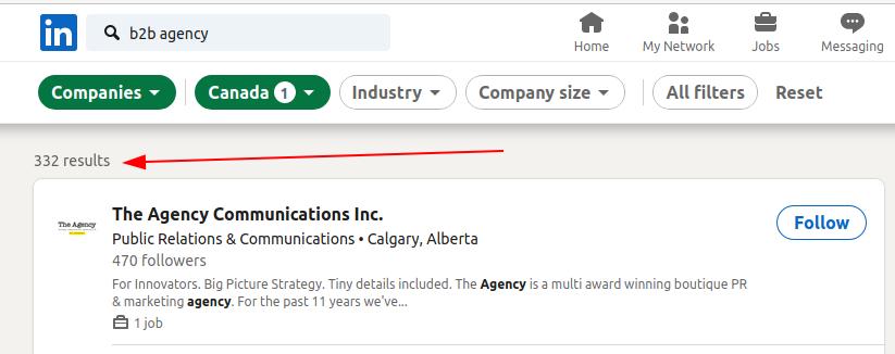 B2B Agency Search on LinkedIn