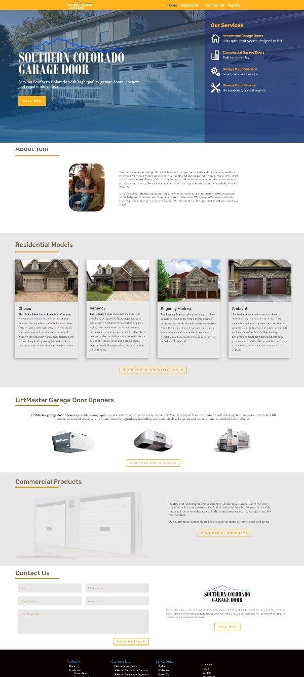 Garage Door construction company website designed by TJG Web Design