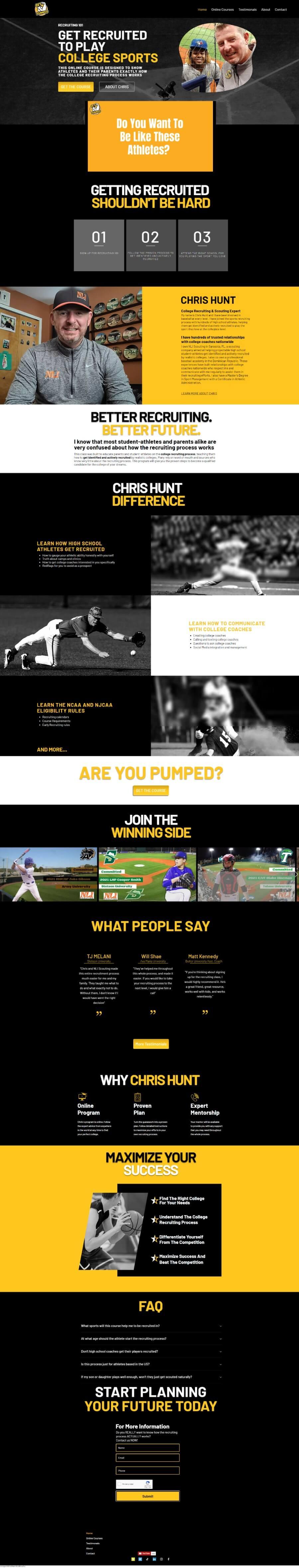 Sport company training course website optimized by TJG Web Design