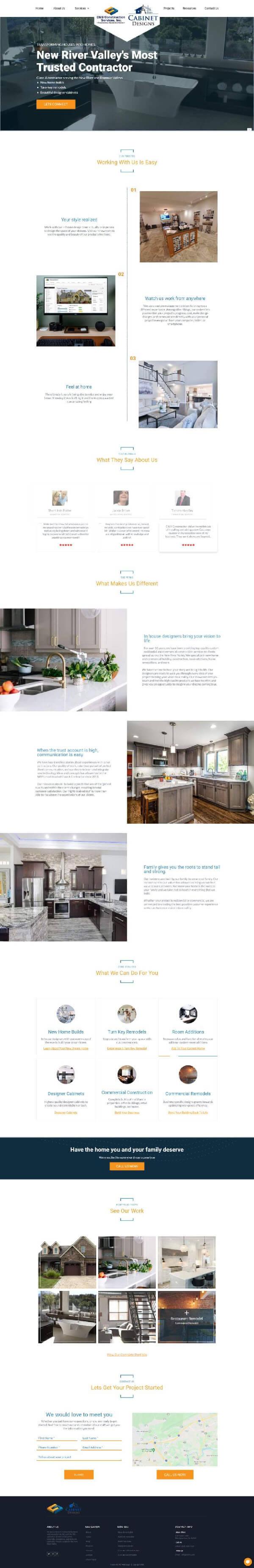 Construction company website designed by TJG Web Design