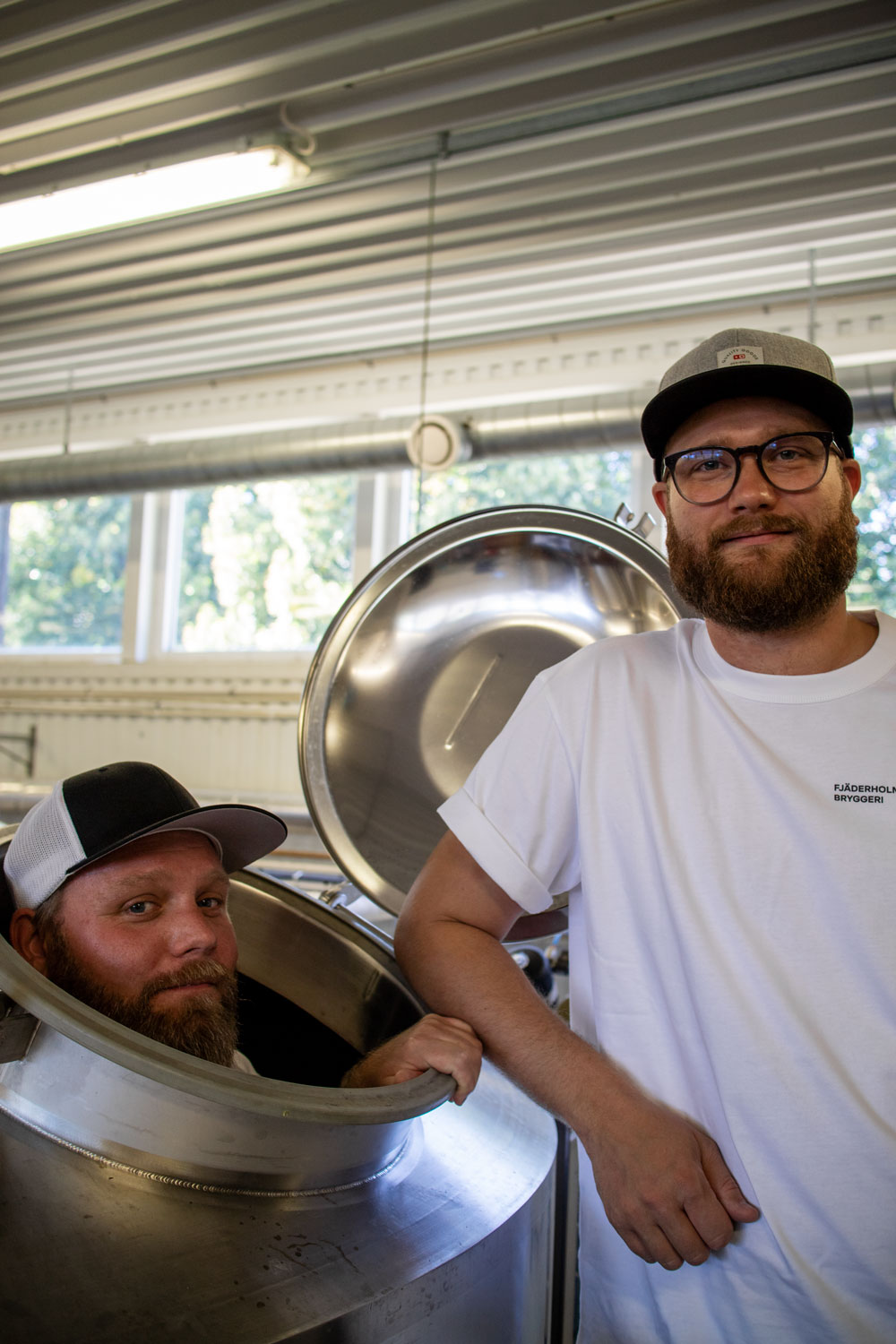 Andreas and Pelle standing in the brewery at the location in Bro.