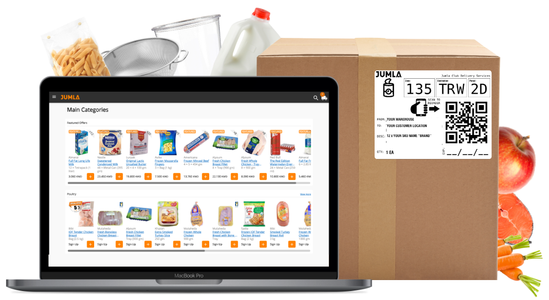 jumla for supplier solution working on laptop as a platform and showing jumla parcel sticker with QR code