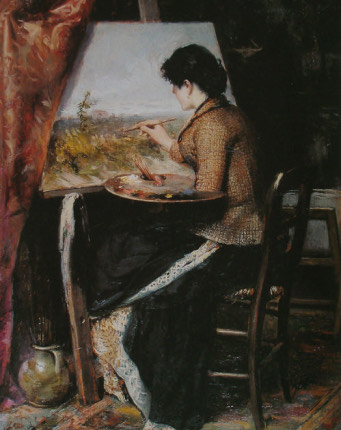 A classical oil painting shows a dark haired woman sitting in front of an easel, working on a painting of a dismal looking landscape. She is wearing a long, heavy and dark skirt and a brown vest. She is holding a palette of oil colors and a collection of brushes in her left hand. The viewer stands behind her, and therefore cannot make out her face.