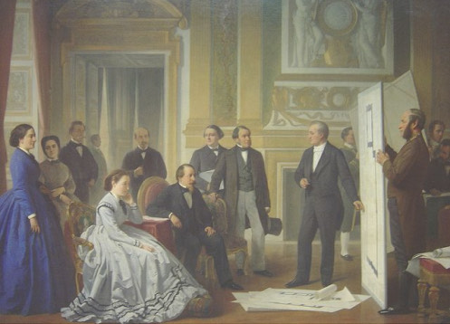 A classical oil painting shows a courteous environment. to the right, there are two men who are showing big big architectural plans to various wealthy looking women and men on the left side of the room.