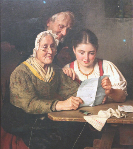 A classical oil painting shows two women, one young and one old, sitting at a table reading a letter. Behind them, an older man is reading with them over their shoulders. They all seem fascinated by what the letter is saying. They are dressed in clothes of the 19 hundreds.